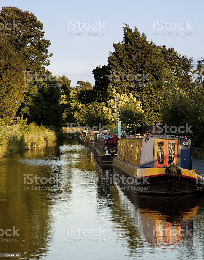 Old canal barges at Ellesmere stock photo