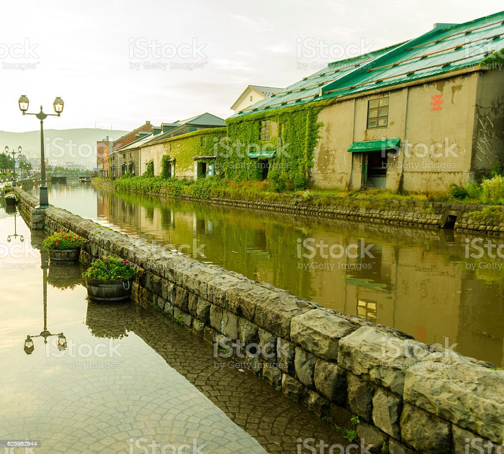 Old canal, Otaru stock photo