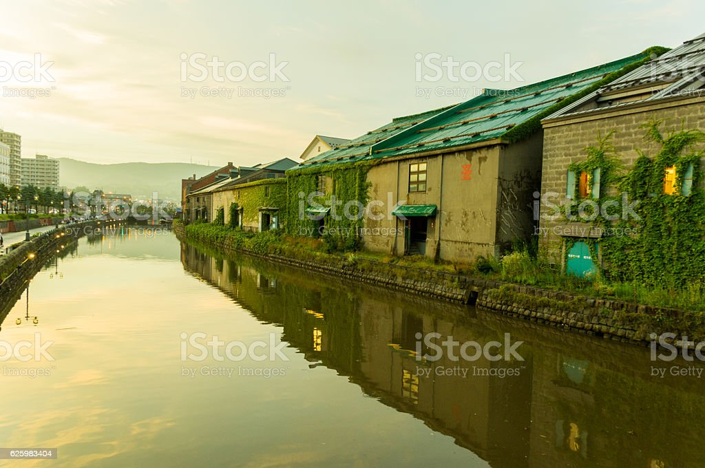 Old canal, Otaru stock photo