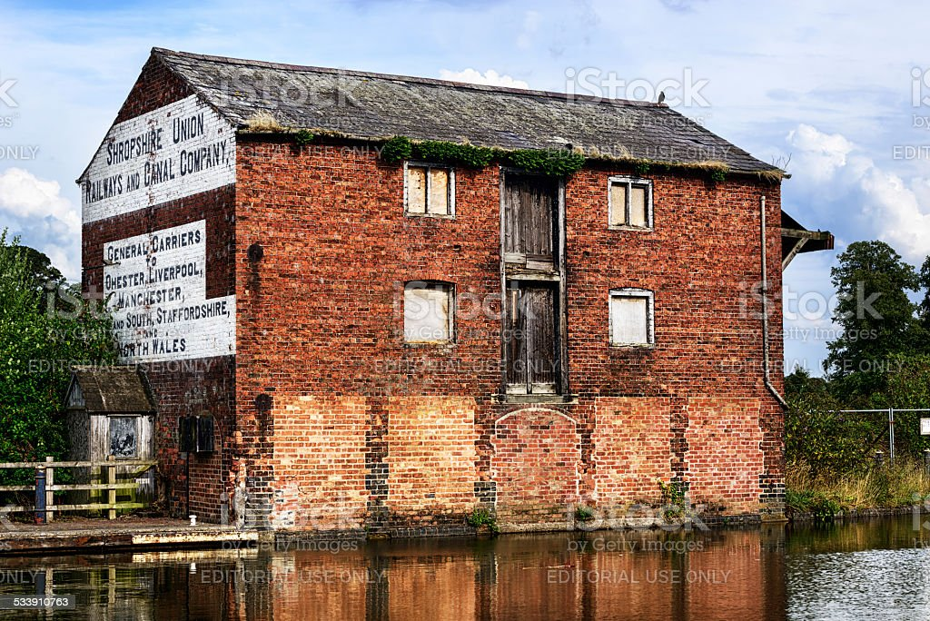 Old canal warehouse in Ellesmere, England stock photo