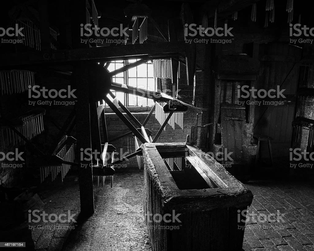 Old candle making factory interior stock photo