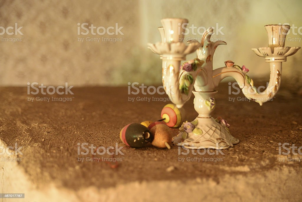 Old candlestick and floats royalty-free stock photo