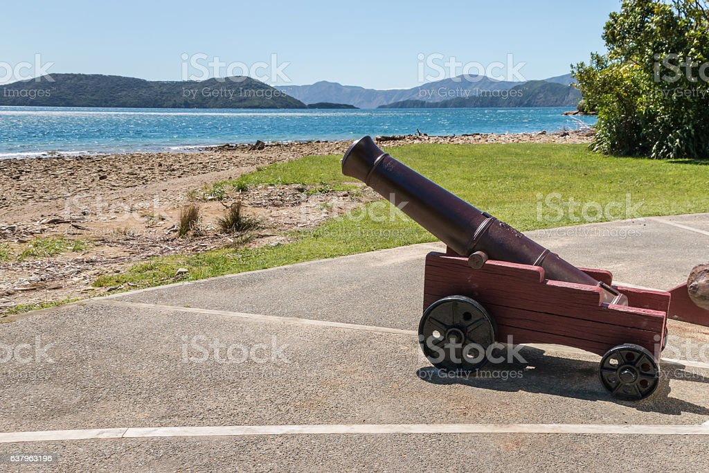 old cannon at Ship Cove, Queen Charlotte Sound, New Zealand stock photo