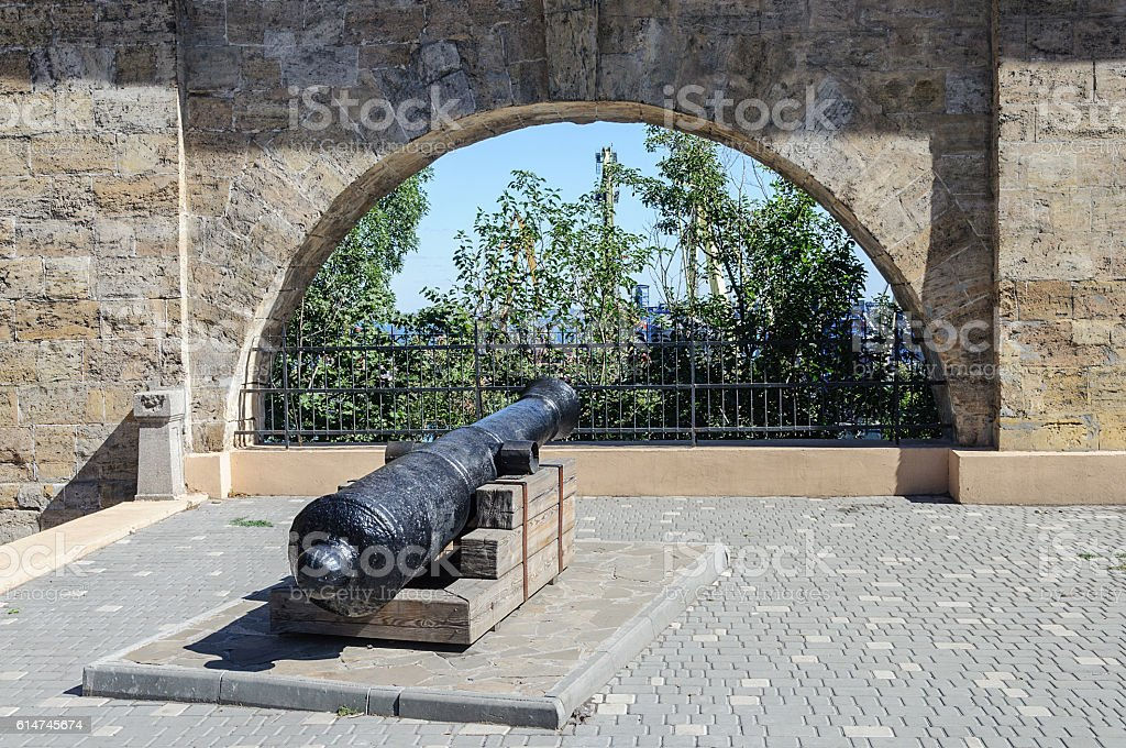 Old cannon at the ancient fortress wall, Odessa stock photo