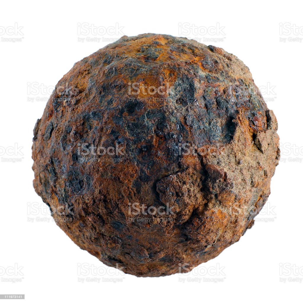 Old cannon ball stock photo