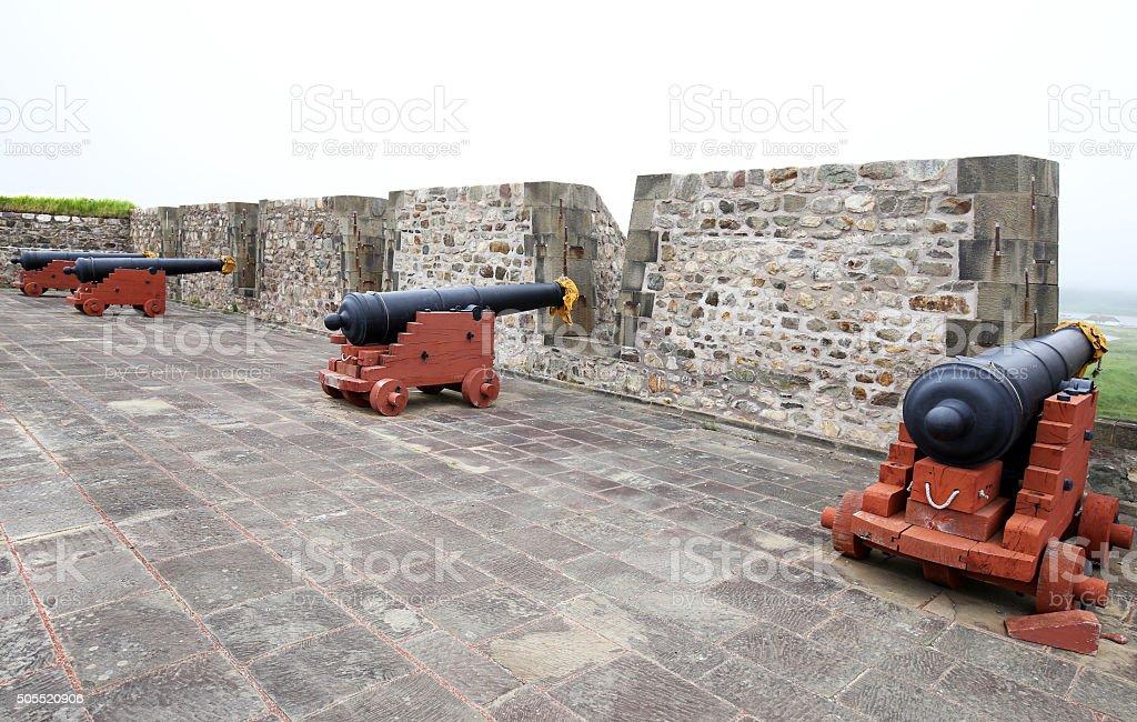 Old Cannon, Fort Louisbourg, Nova Scotia stock photo