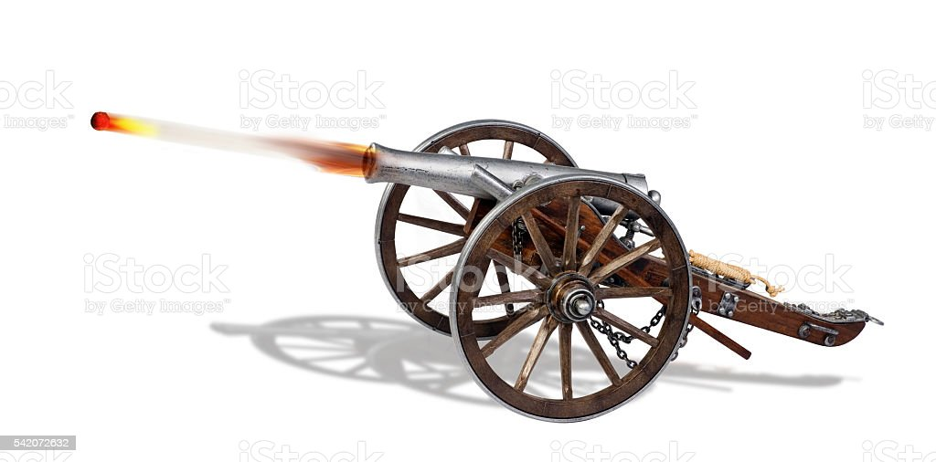 Old Cannon in Action.. stock photo