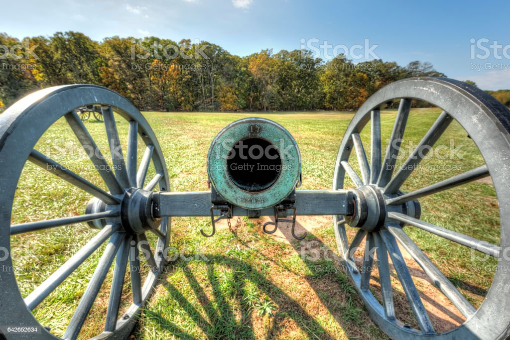 Old cannon in Manassas National Battlefield Park in Virginia stock photo