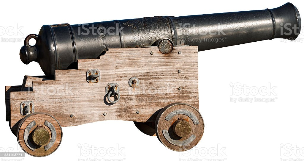 Old Cannon Isolated on White stock photo