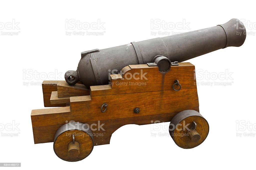 old cannon isolated stock photo