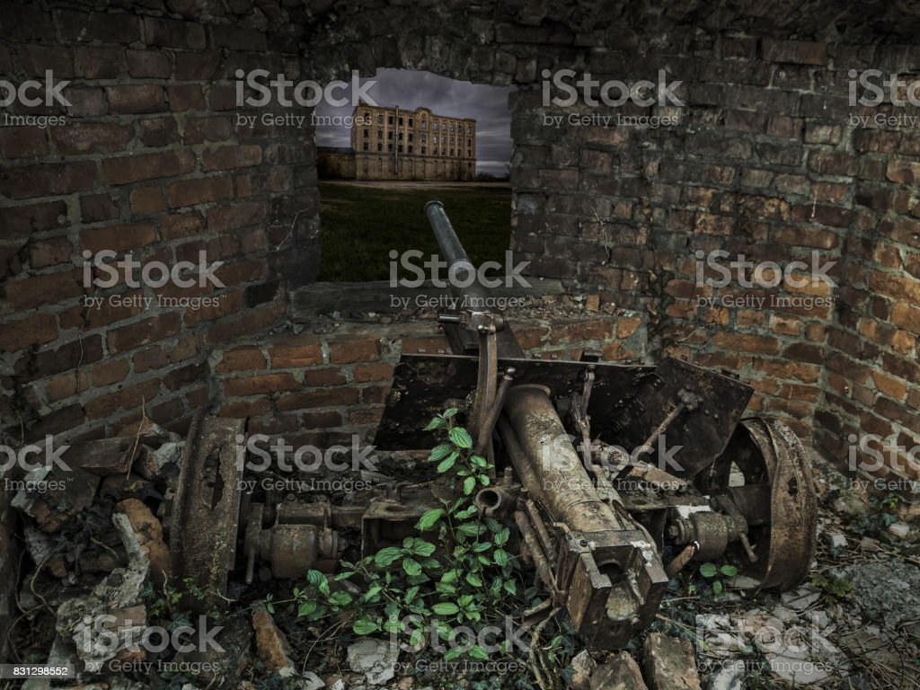 Old Cannon of time great World War in ruins stock photo