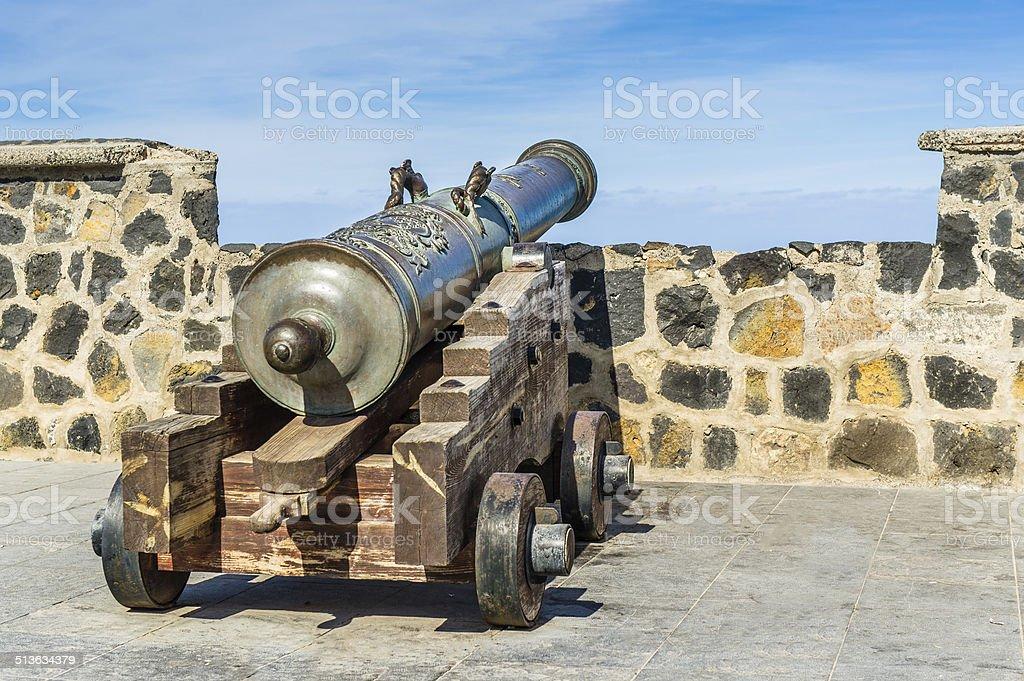 Old cannon. Puerto Cruz streets. stock photo