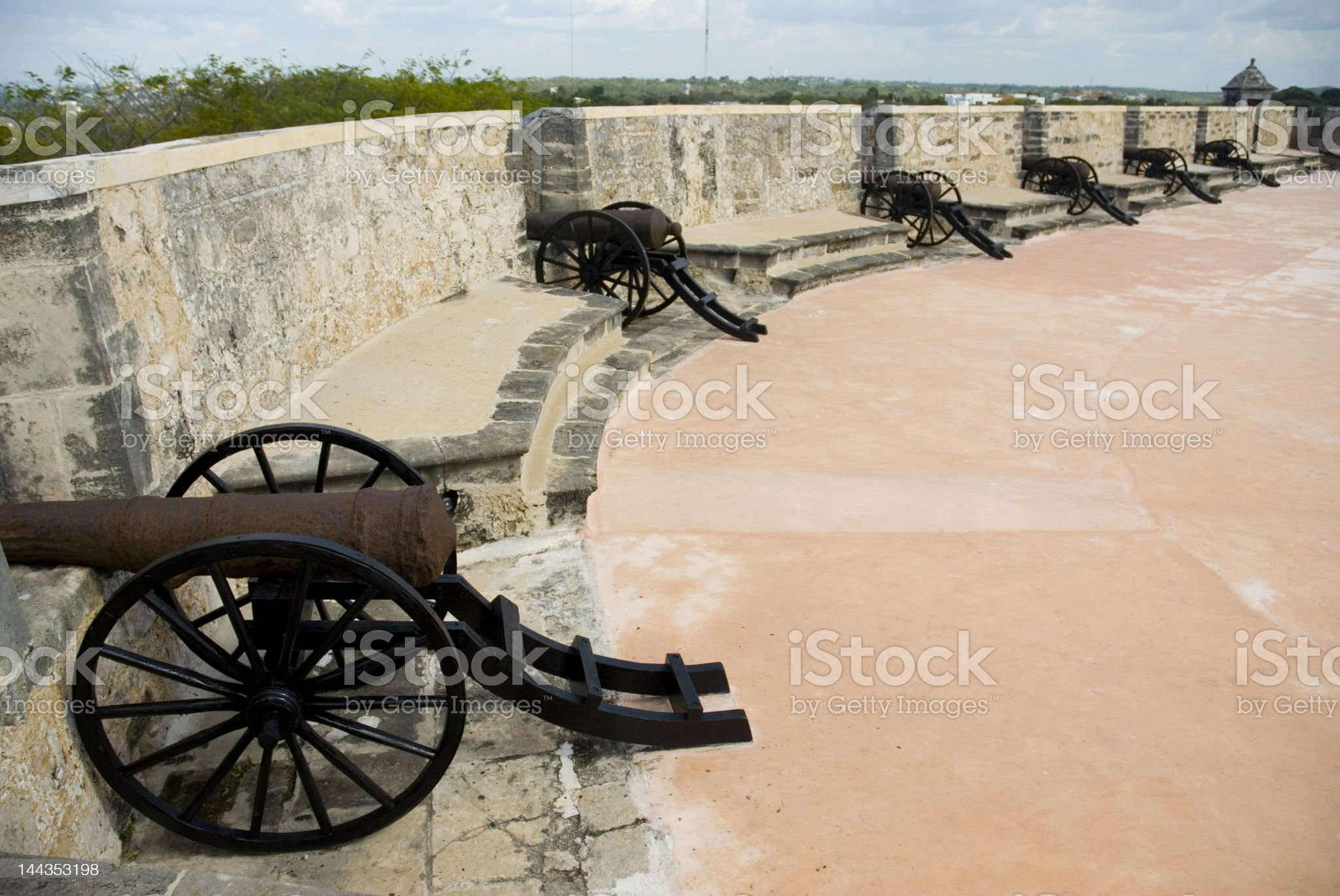 Old cannons protect the fort saint miguel mexico royalty-free stock photo