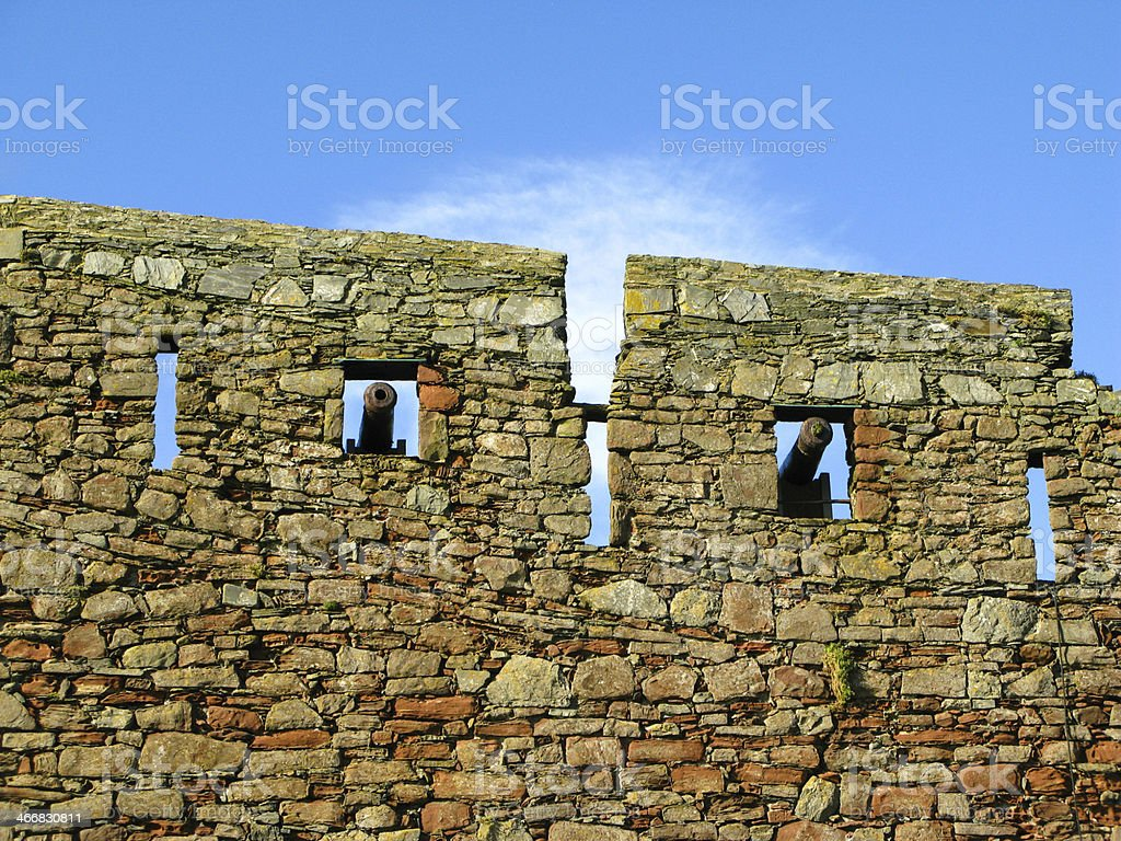 Old Canon and Castle Walls stock photo