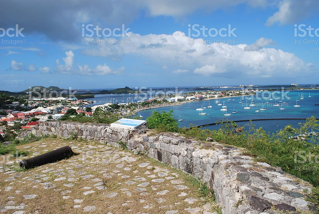 Old Canon at Fort Saint-Louis, St Martin Island. stock photo