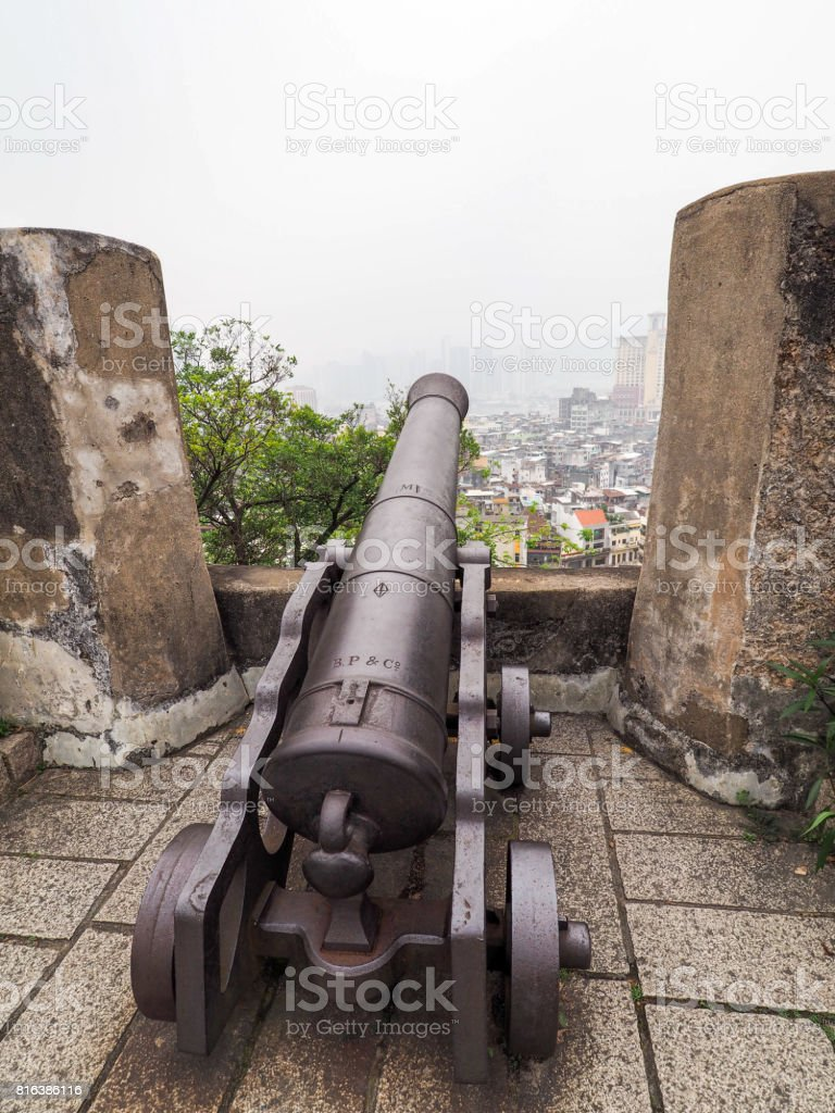 Old canon at Macao Fort, historic building in Macao stock photo