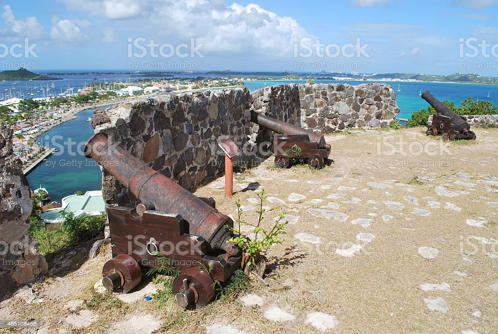 Old Canons of Fort Saint-Louis, Marigot, St Martin. stock photo