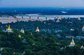 Old capital Sagaing at twilight, Sagaing, Myanmar