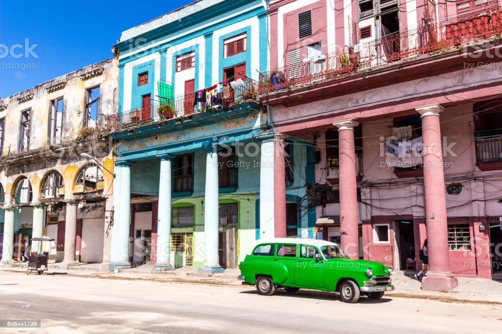 Old car and coloured houses in Old Havana stock photo