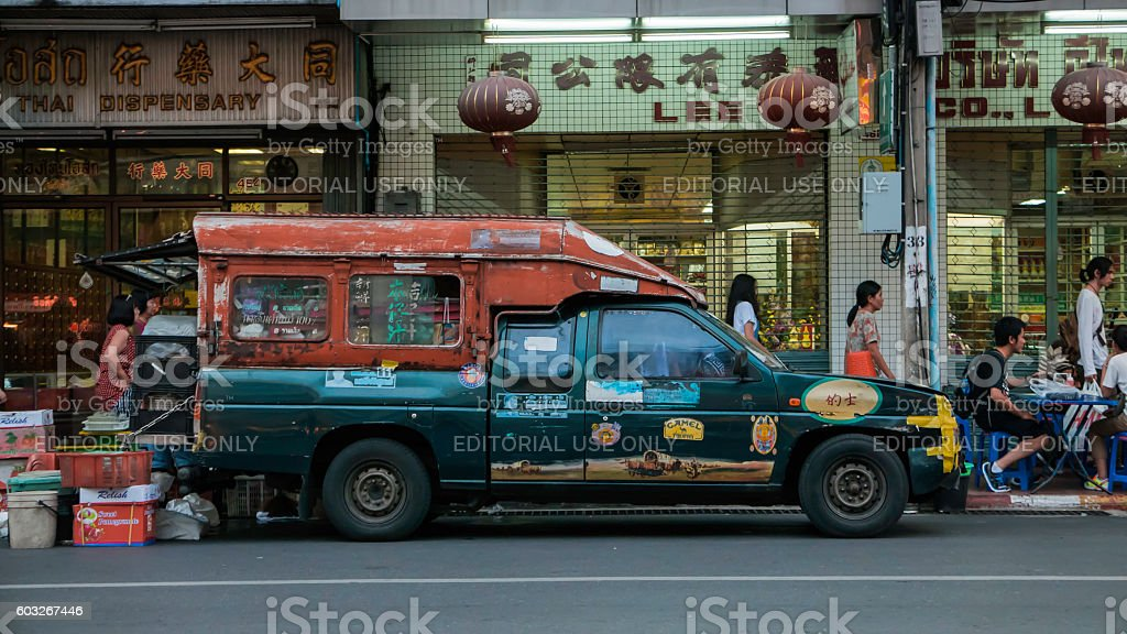 Old car classic on chinatown (Yaowarat) Road stock photo