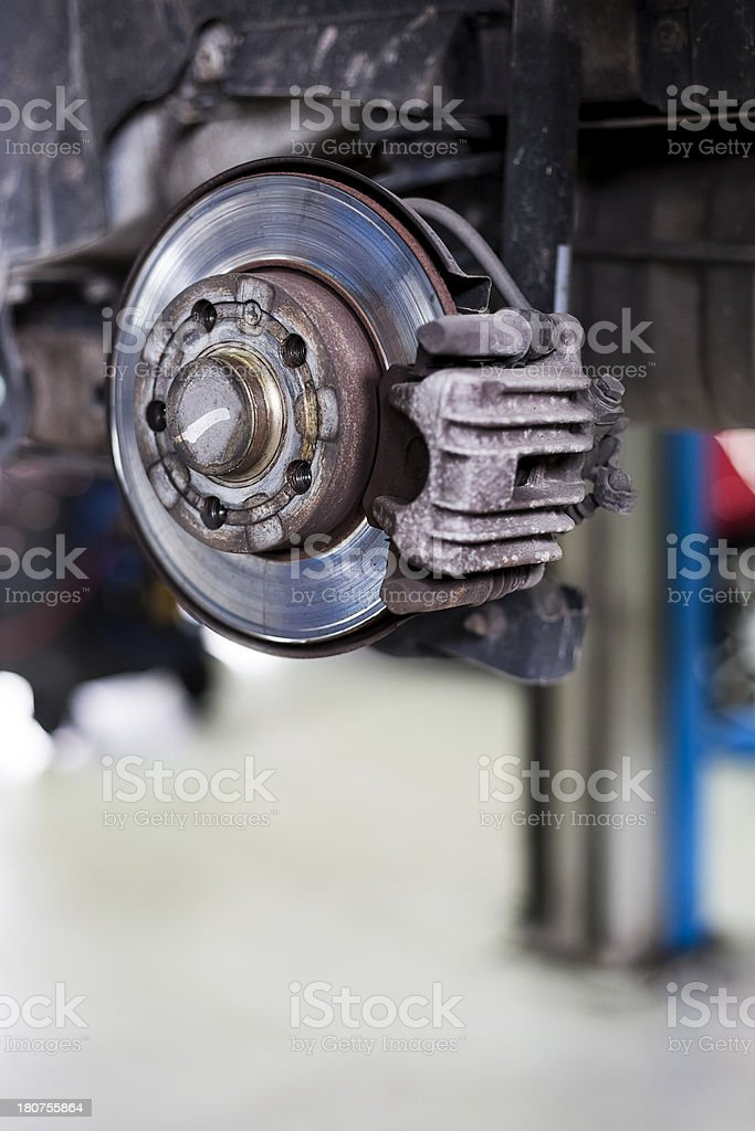 Old car disc brakes royalty-free stock photo