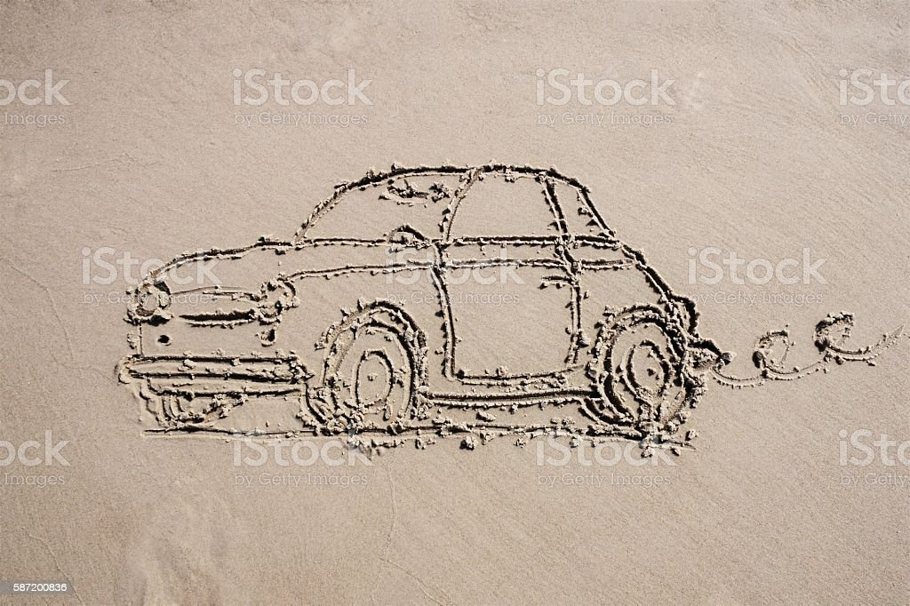 Old car drawing on the sand stock photo
