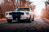 Old car Ford Mustang Shelby GT350 on the road