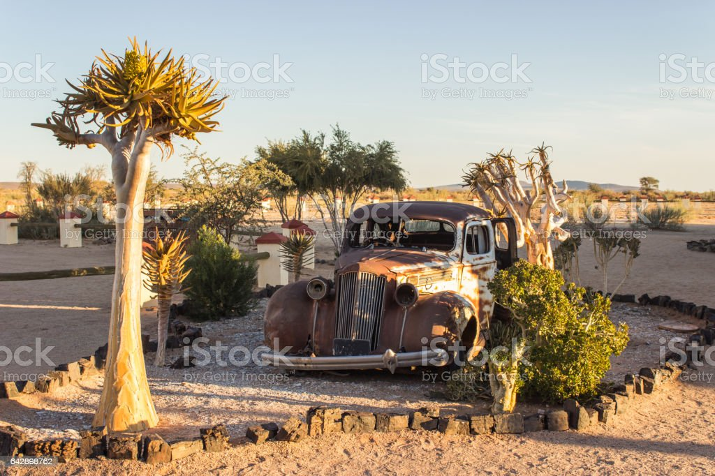 Old car in Namibia Savanna stock photo