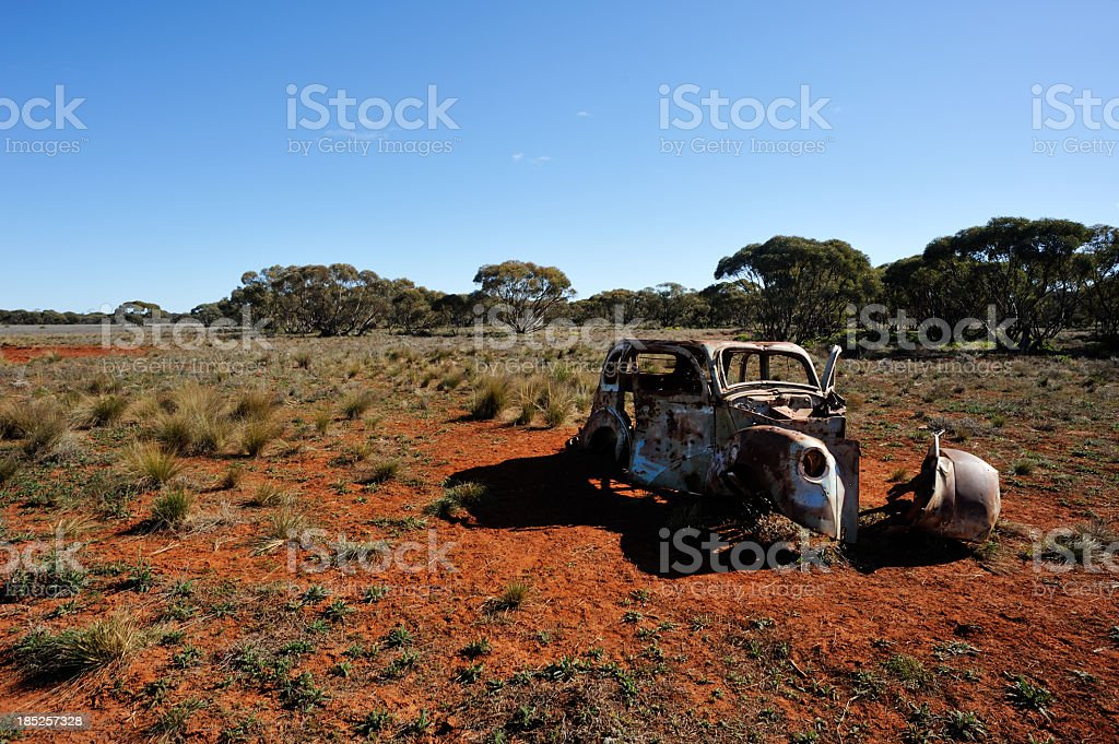 Old car in the desert royalty-free stock photo