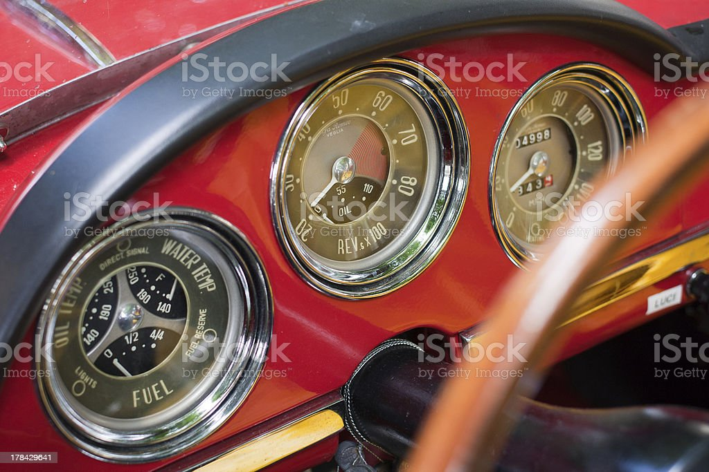 Old car instrument panel detail stock photo
