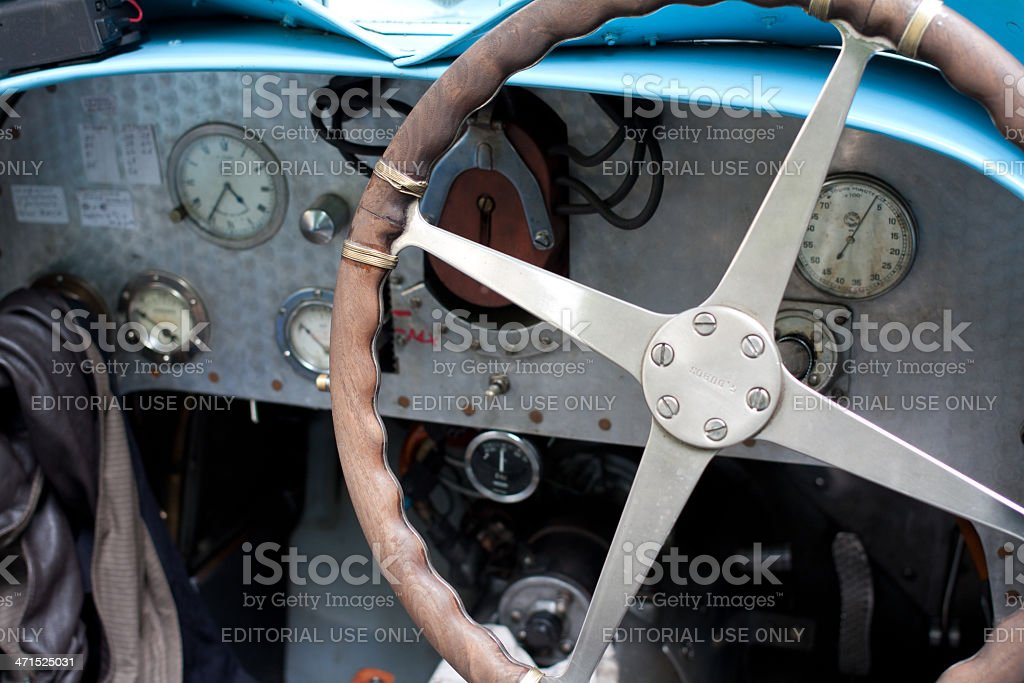 Old car instrumental panel stock photo