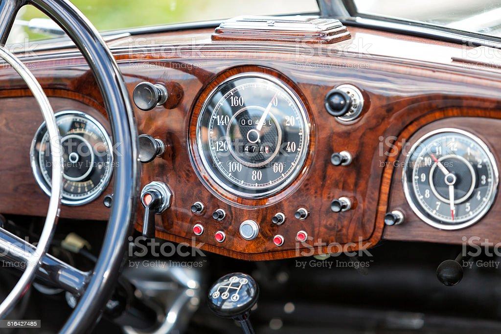 Old Car Interior stock photo