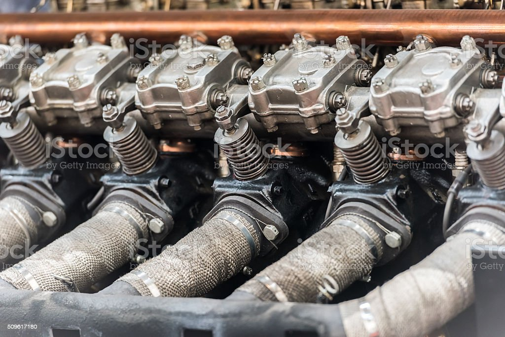 Old Car Internal Combustion Engine Pistons stock photo