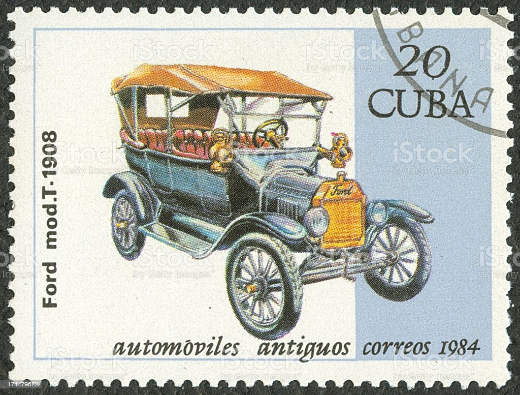 Old car postage stamp stock photo