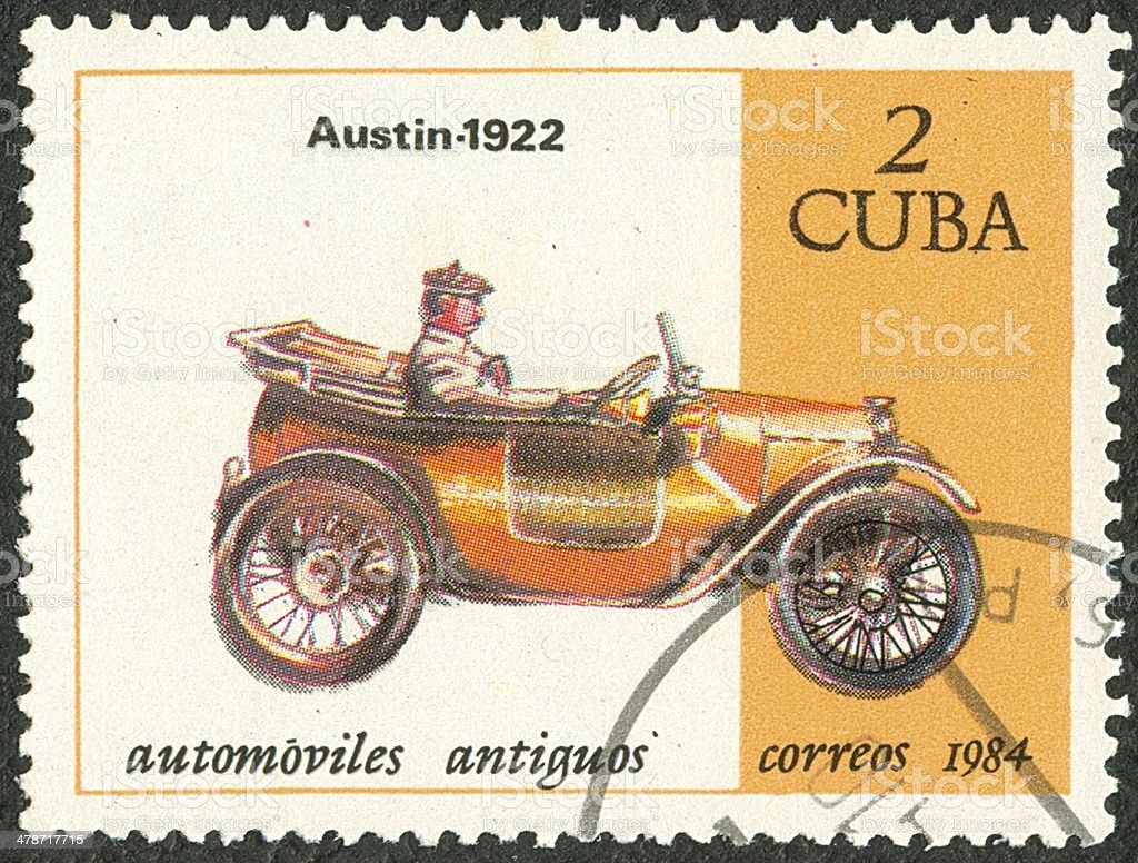 Old car postage stamp royalty-free stock photo
