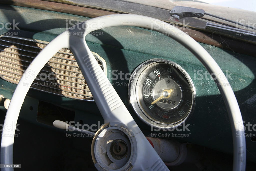 Old Car Steering Wheel royalty-free stock photo