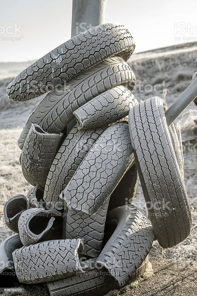 Old car tyres stock photo