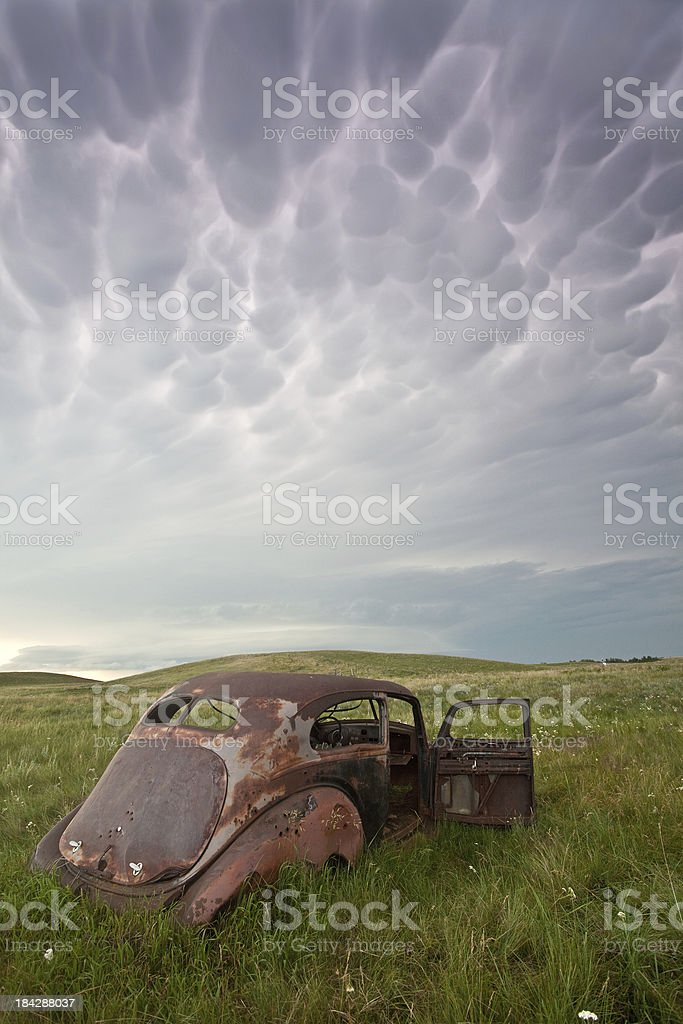 Old Car with Storm royalty-free stock photo