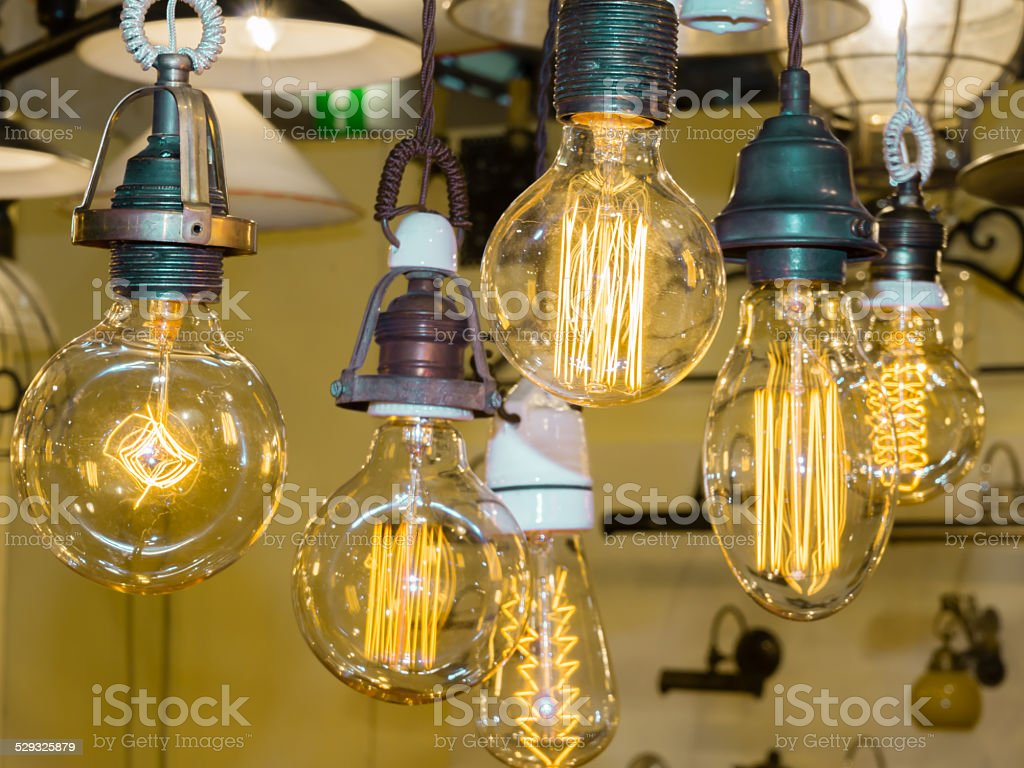 old carbon light bulb Filament stock photo