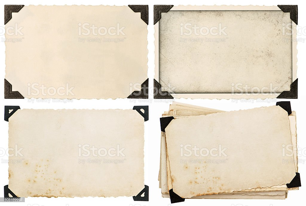 old cardboard with corner, postcard, aged paper stock photo