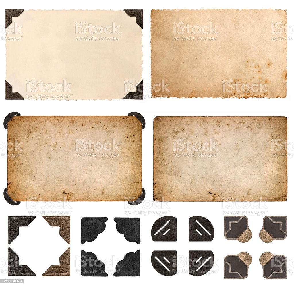 old cardboards, photo cards, frames and corners isolated on white stock photo