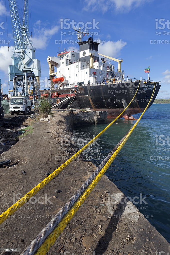 Old Cargo Ship at Mombasa Port in Kenya stock photo