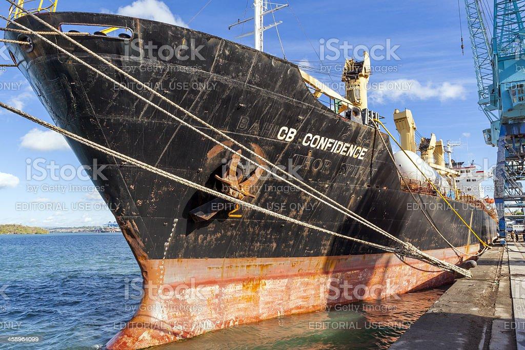 Old Cargo Ship at Mombasa Port in Kenya royalty-free stock photo