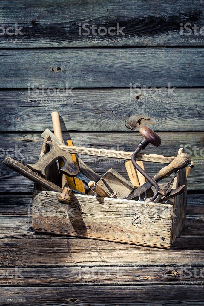 Old carpenters box stock photo