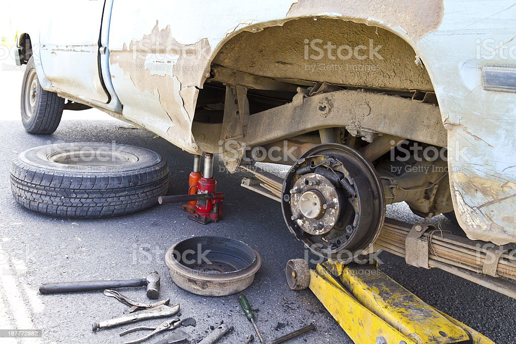 Old cars are visible hub royalty-free stock photo