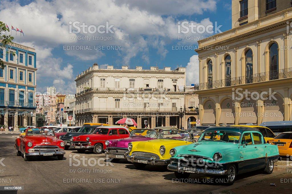 Old cars at Central Park (Parque Central), Havana, Cuba stock photo