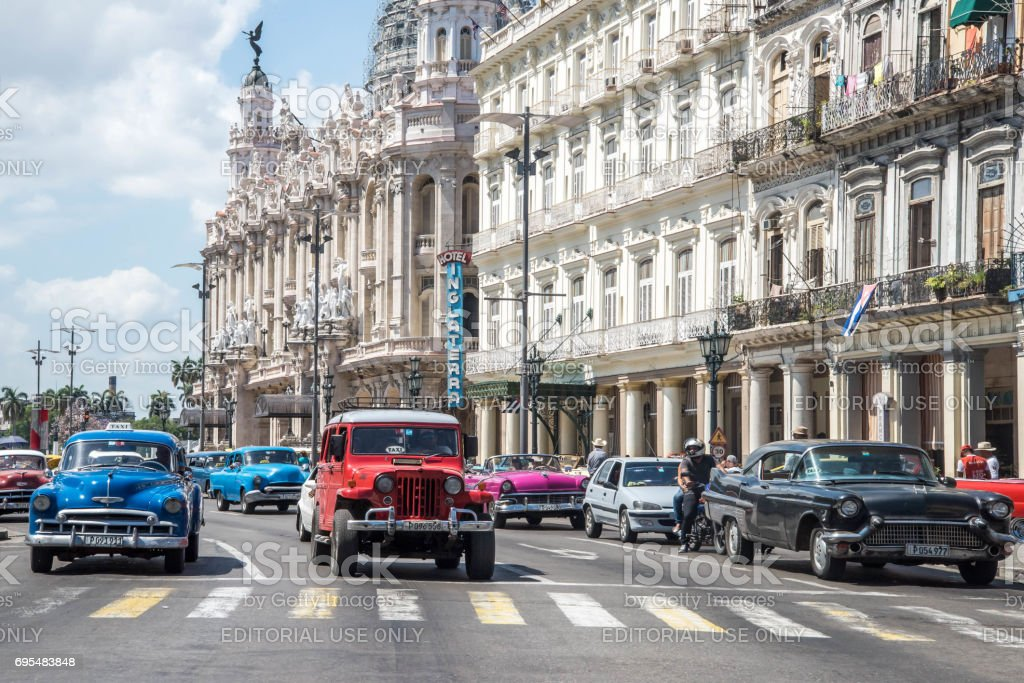 Old cars in Havana Vieja , Cuba - May 2017 stock photo