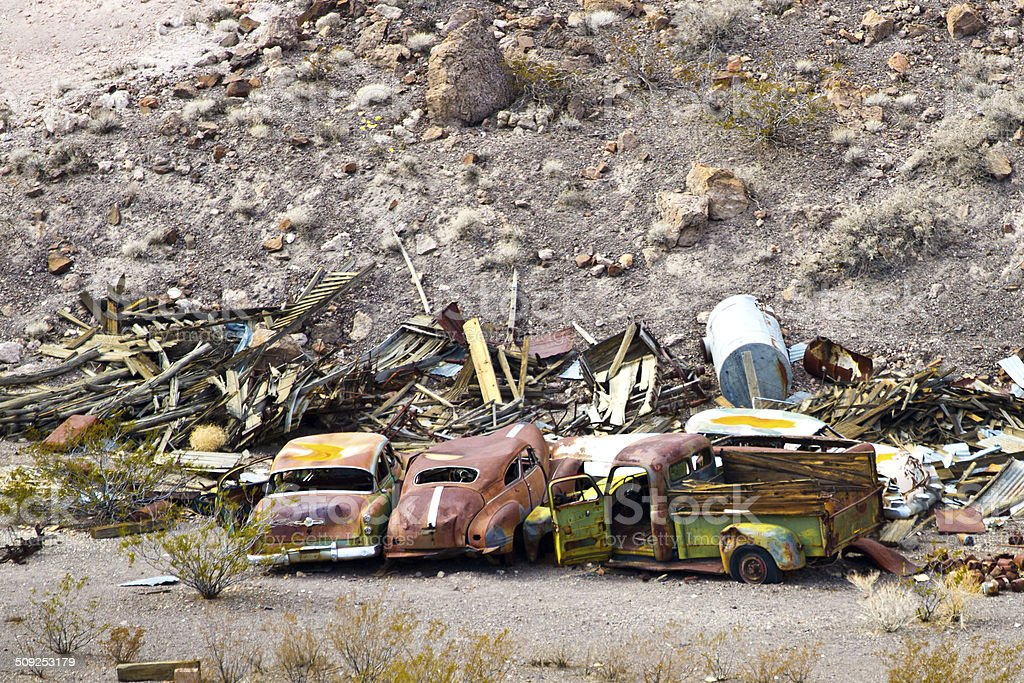 Old cars in the desert abandoned royalty-free stock photo
