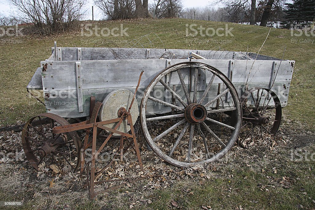 Old cart in a yard. royalty-free stock photo