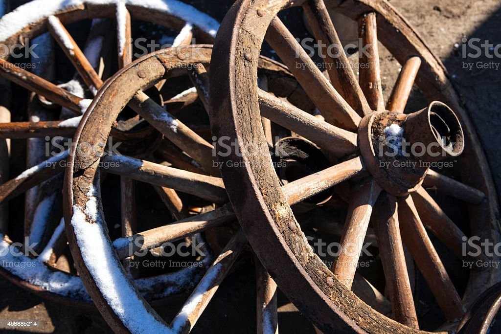 Old cart wheels stock photo